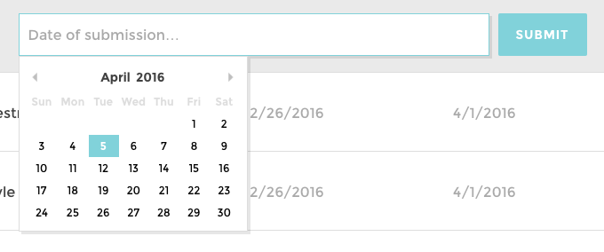 A screenshot of the date picker